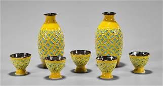 Japanese Porcelain & Silver Sake Bottles & Cups