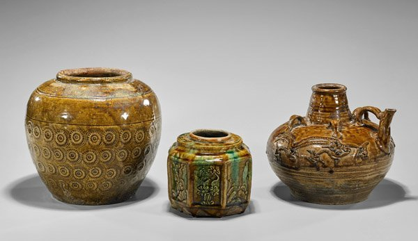 Three Antique Chinese Glazed Pottery Vessels