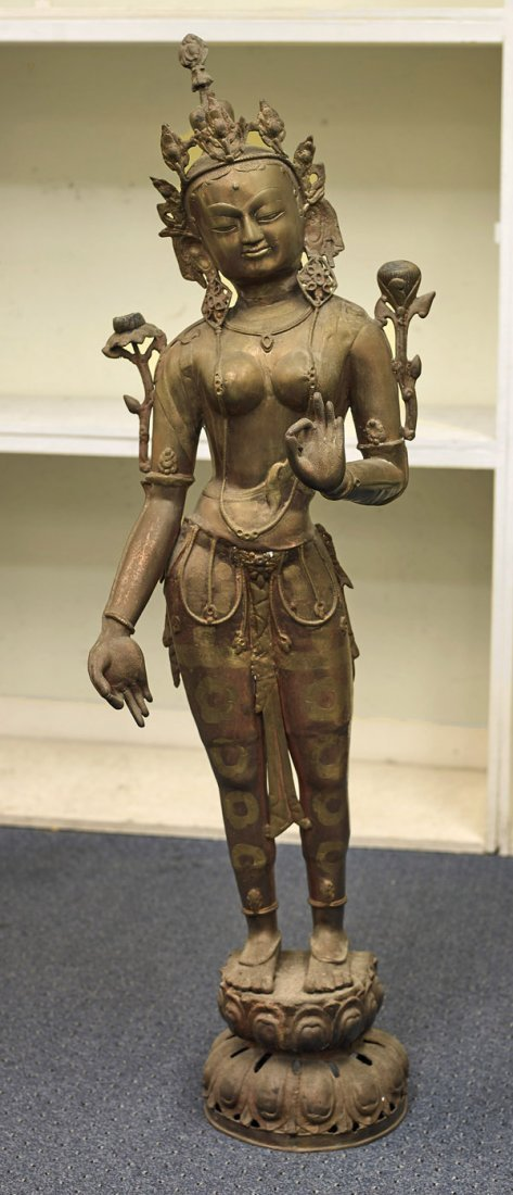 Tall Sino-Tibetan Parcel-Gilt Copper Tara