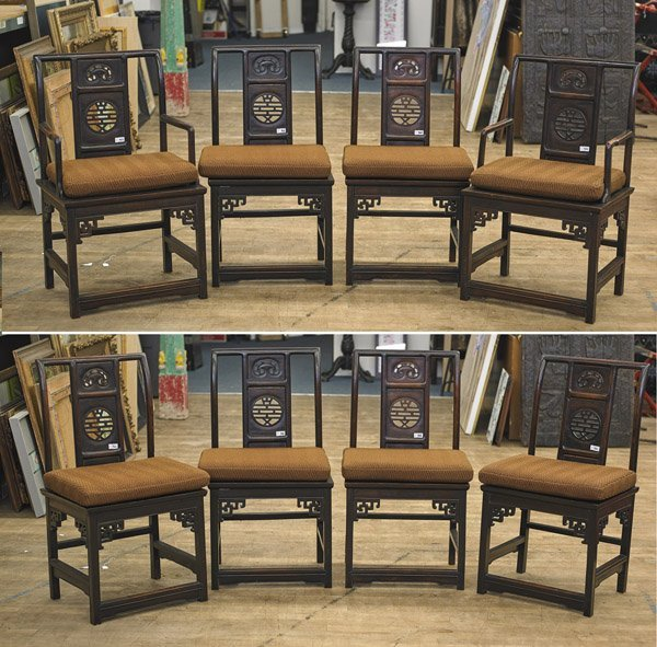 Eight Chinese Carved Wood Side & Arm Chairs