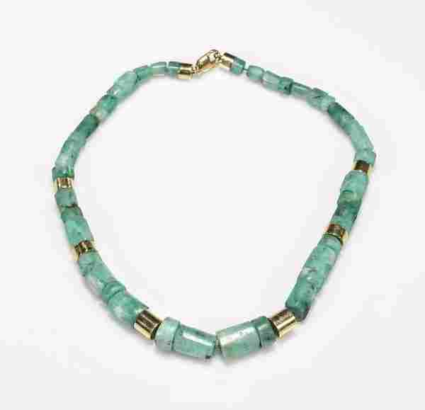 Ladies' Carved Green Beryl & 18K Gold Necklace