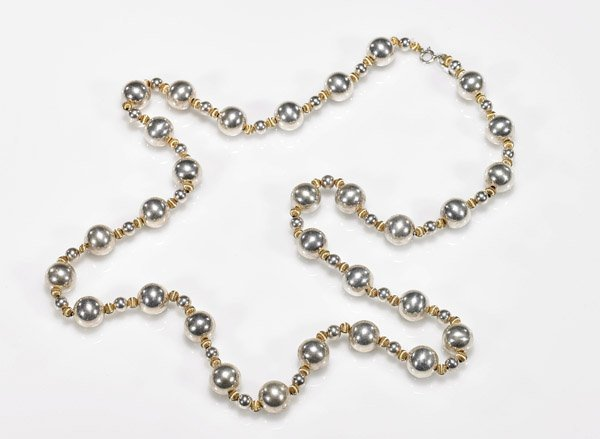 Sterling Silver & 14K Yellow Gold Bead Necklace