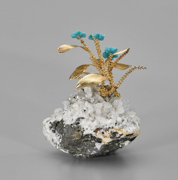 Chinese 14K Yellow Gold Flowering Plant - 2