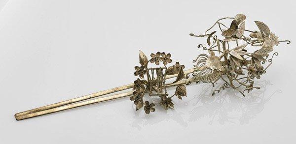 Old Chinese White Metal Hairpin