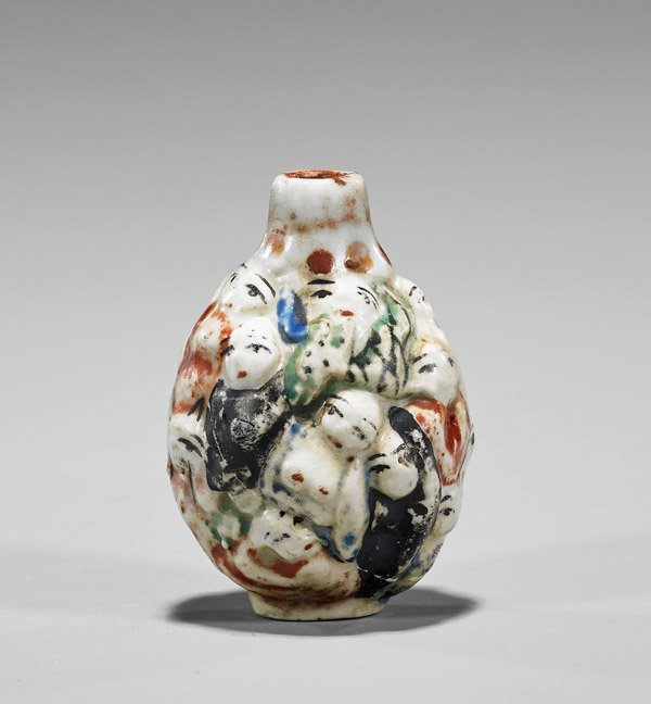 Three Snuff Bottles: Porcelain & Glass