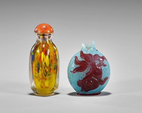 Three Snuff Bottles: Porcelain & Glass - 3