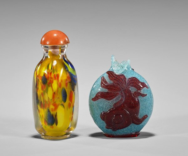 Three Snuff Bottles: Porcelain & Glass - 4