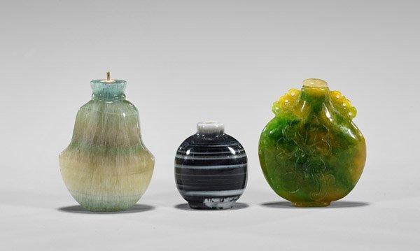 Four Carved Hardstone Snuff Bottles - 3