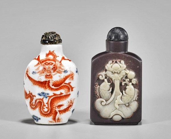 Two Dragon Snuff Bottles: Porcelain & Stone