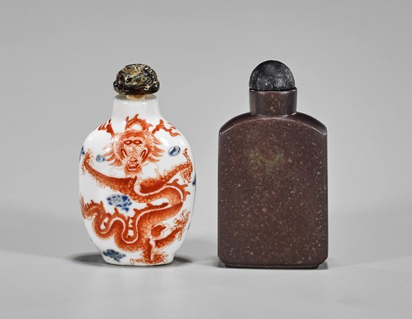 Two Dragon Snuff Bottles: Porcelain & Stone - 2