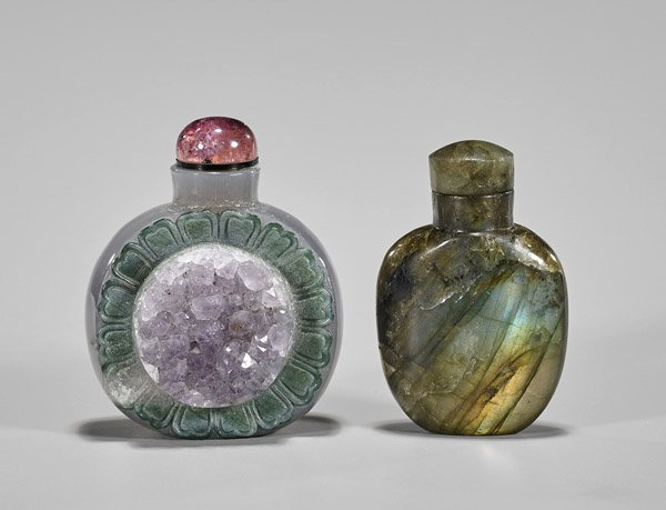 Two Carved Snuff Bottles: Labradorite & Cameo Agate