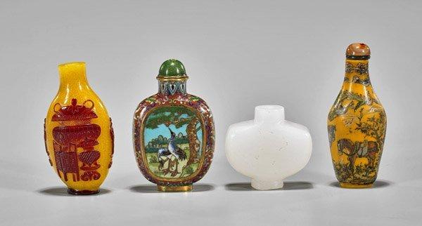 Four Snuff Bottles: Cloisonne & Glass