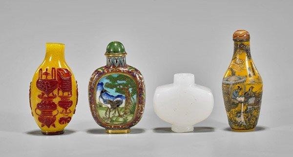 Four Snuff Bottles: Cloisonne & Glass - 2