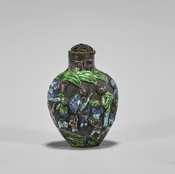 Enameled Silver Snuff Bottle