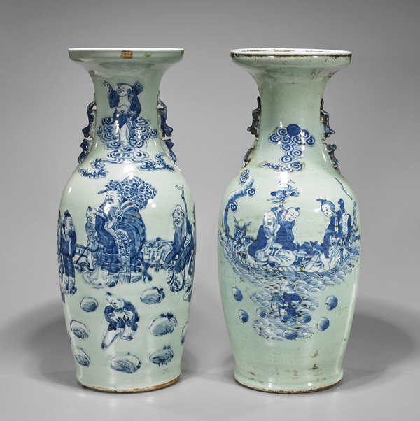Pair Antique Chinese Porcelain Vases