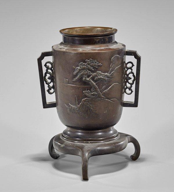 Japanese Bronze Vase & Stand