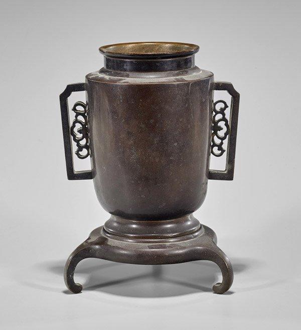Japanese Bronze Vase & Stand - 2