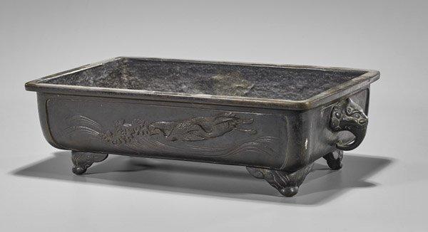 Heavy Antique Japanese Bronze Planter