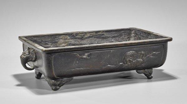 Heavy Antique Japanese Bronze Planter - 2