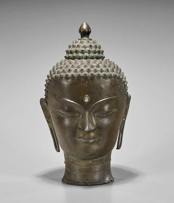 Antique Chinese Bronze Head of Buddha