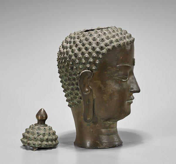 Antique Chinese Bronze Head of Buddha - 2