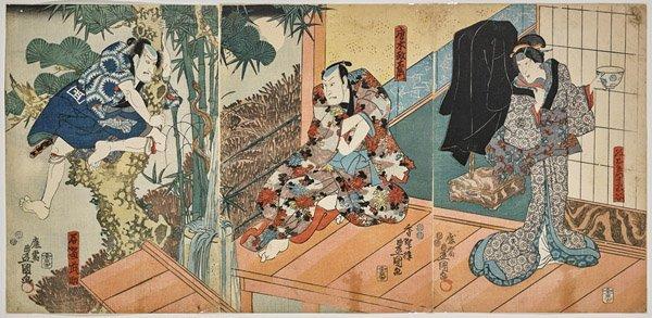 Japanese Woodblock Print Triptych by Toyokuni III