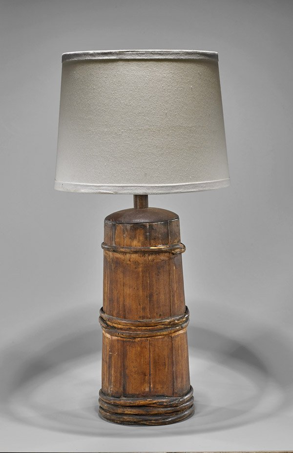 Asian Sectional Wood Vessel/Lamp