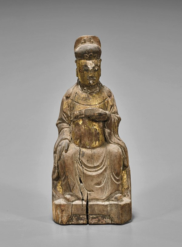 Antique Chinese Carved Wood Seated Official