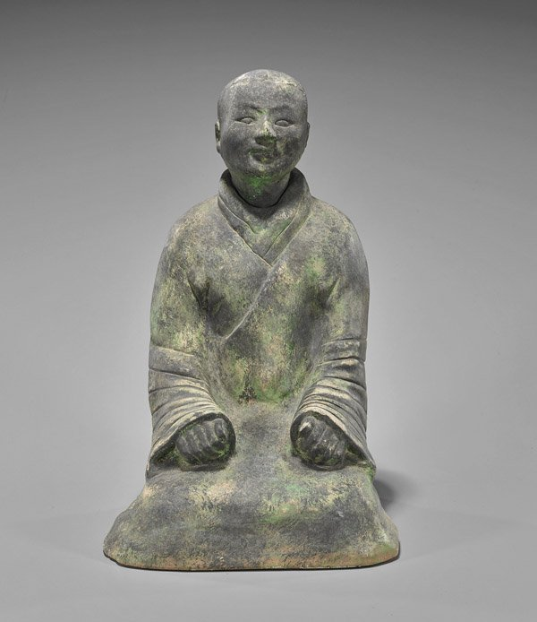 Heavy Han-Style Pottery Seated Lady