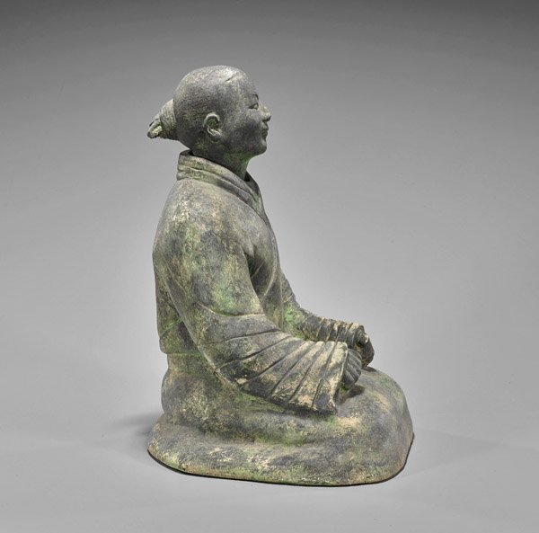 Heavy Han-Style Pottery Seated Lady - 2