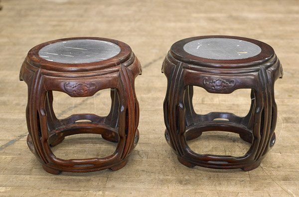 Pair Antique Chinese Rosewood Stools