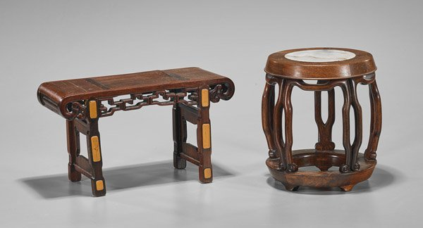 Two Miniature Chinese Wood Stool & Table