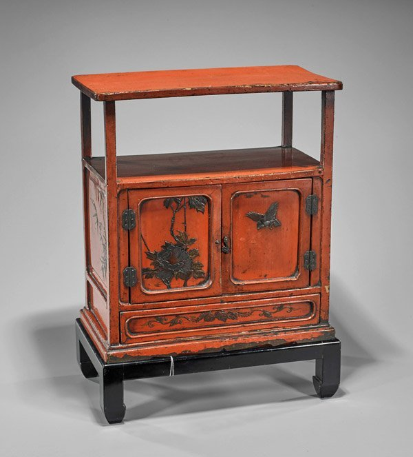 Antique Chinese Red Lacquer Chest & Stand