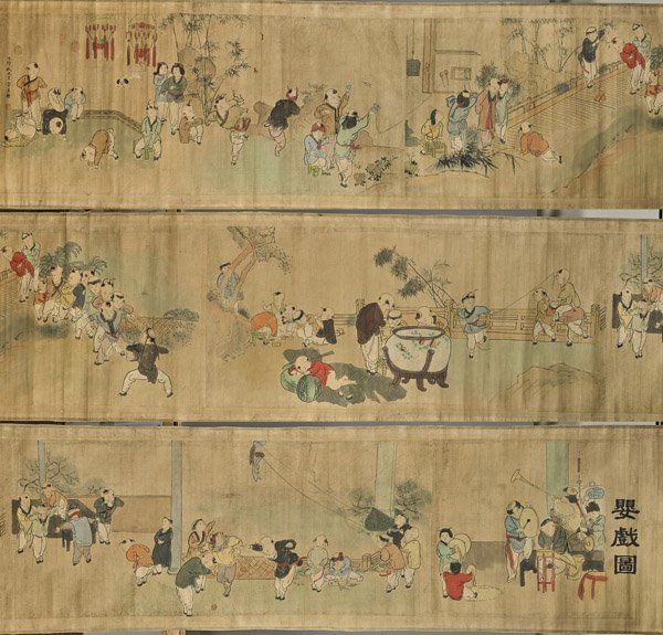 Long Chinese Paper Scroll: Playful Boys