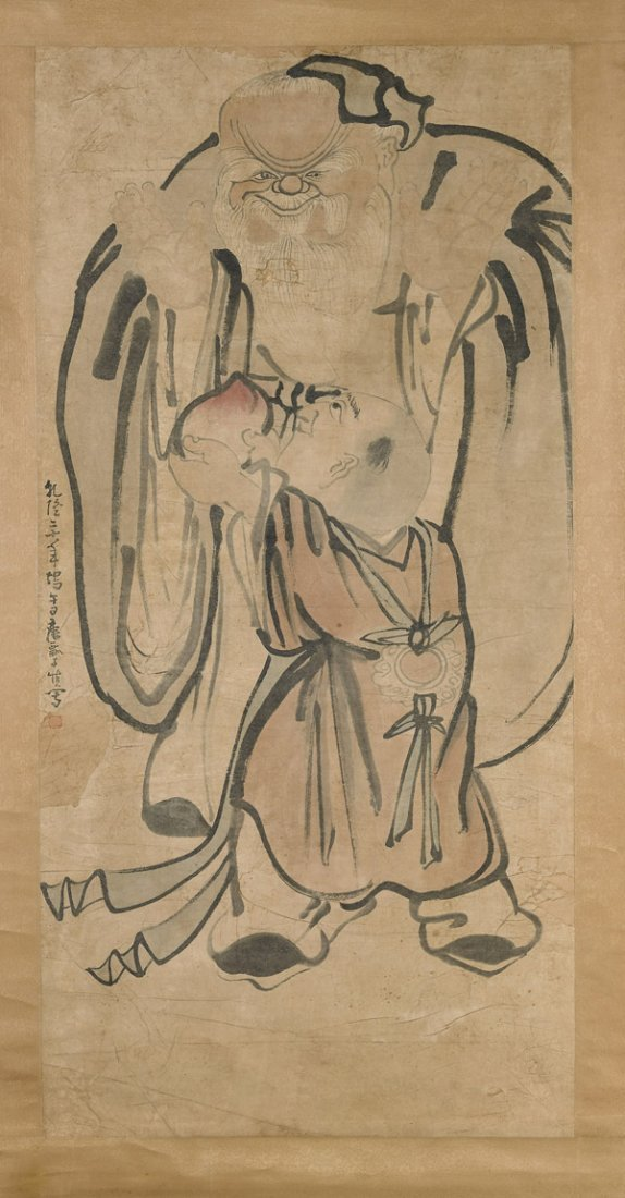 Three Chinese Paper Scrolls: Figures