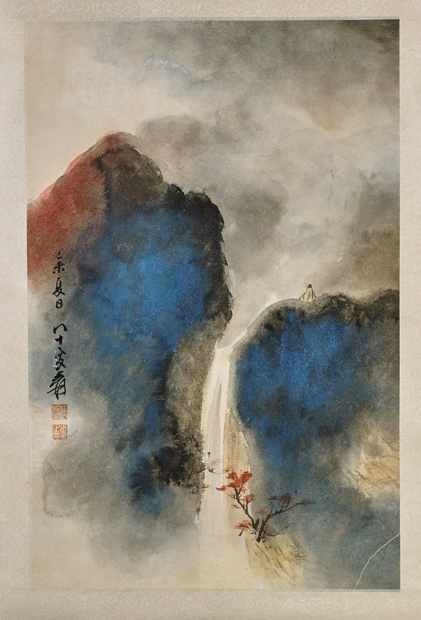 Two Chinese Paper Scrolls: Boats & Waterfall - 3
