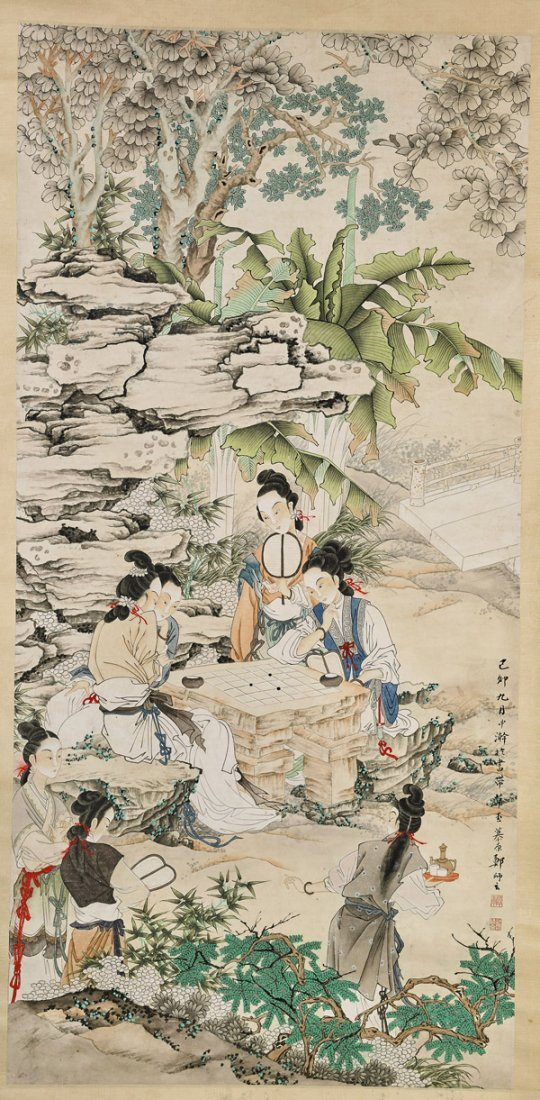 Two Chinese Paper Scrolls: Beauties & Mother