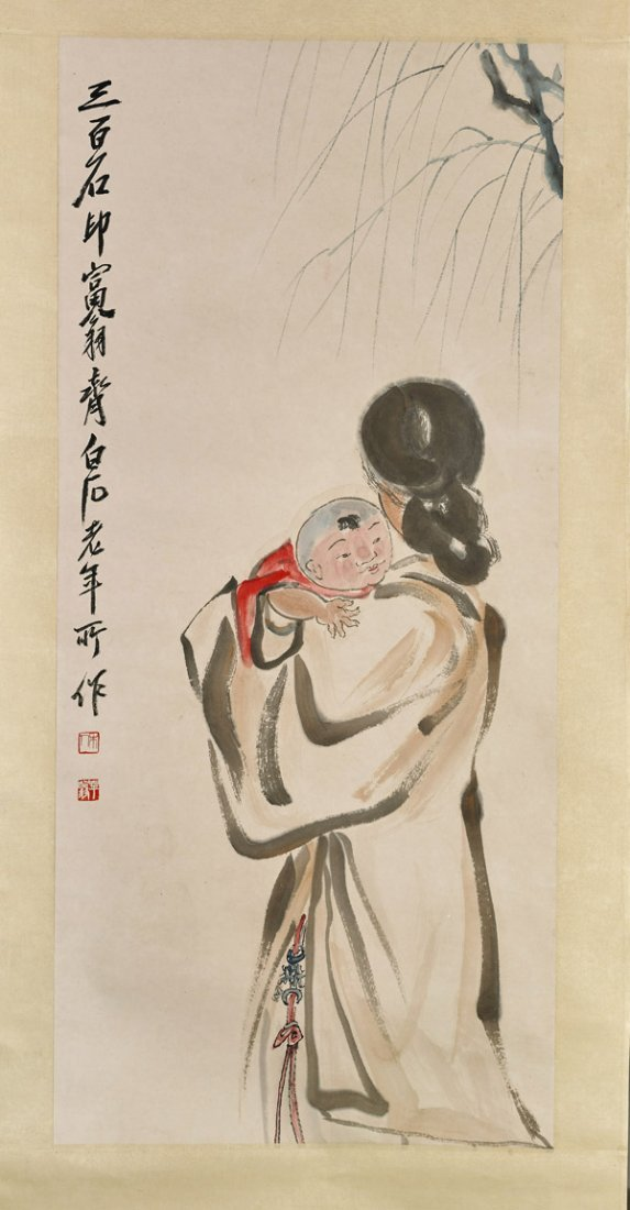 Two Chinese Paper Scrolls: Beauties & Mother - 3