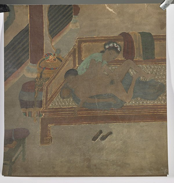 Four Chinese Silk Paintings: Erotic