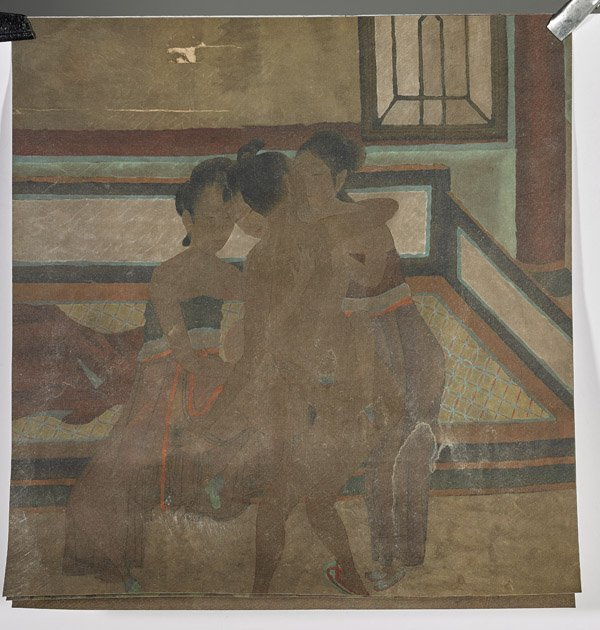 Four Chinese Silk Paintings: Erotic - 2