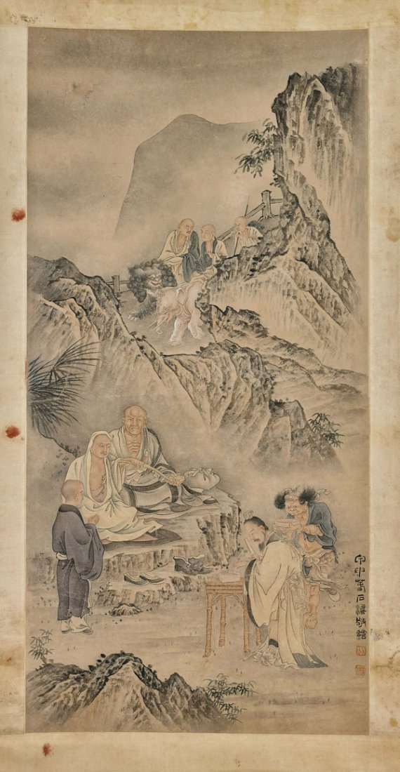 Three Chinese Scrolls: Figures
