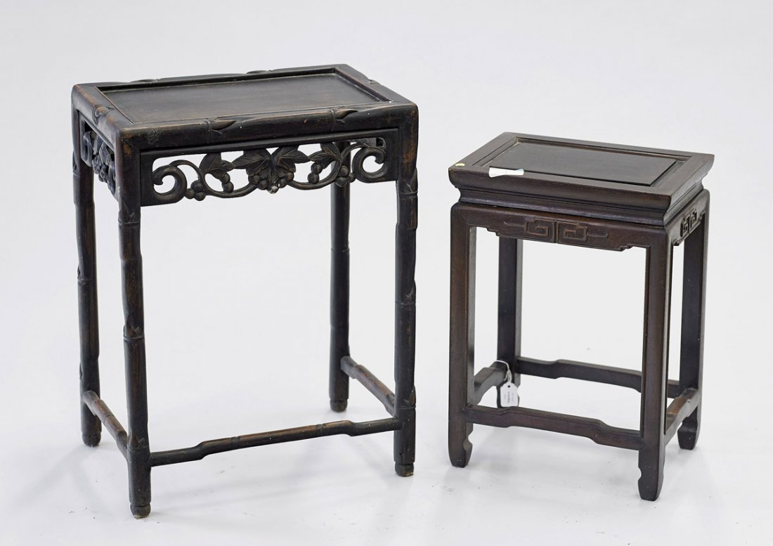 Two Old Chinese Carved Hardwood Side Tables