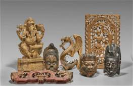 Seven Chinese  Southeast Asian Carved Wood Items
