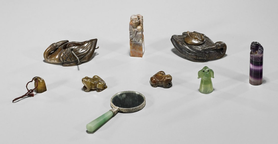 Nine Various Asian Carved Items