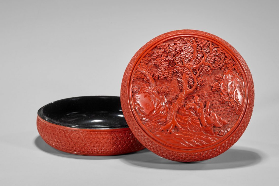 Qianlong-Style Red Composite Covered Box
