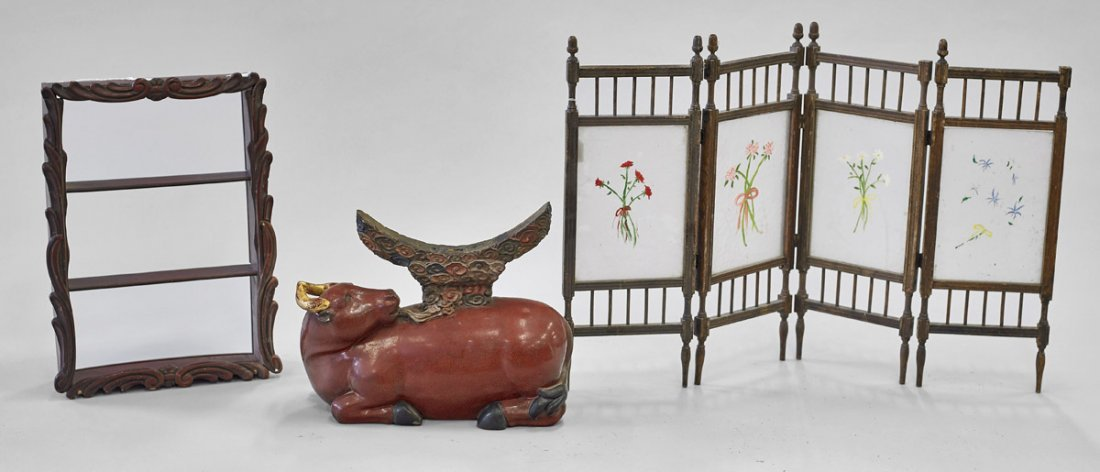 Three Chinese Items: Cabinet, Stand & Screen