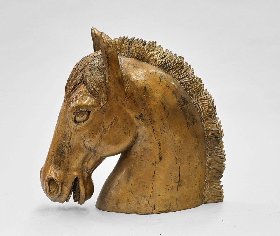 Large Gilt Wood Horse's Head