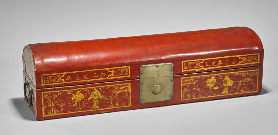 Antique Chinese Lacquered Scroll Box