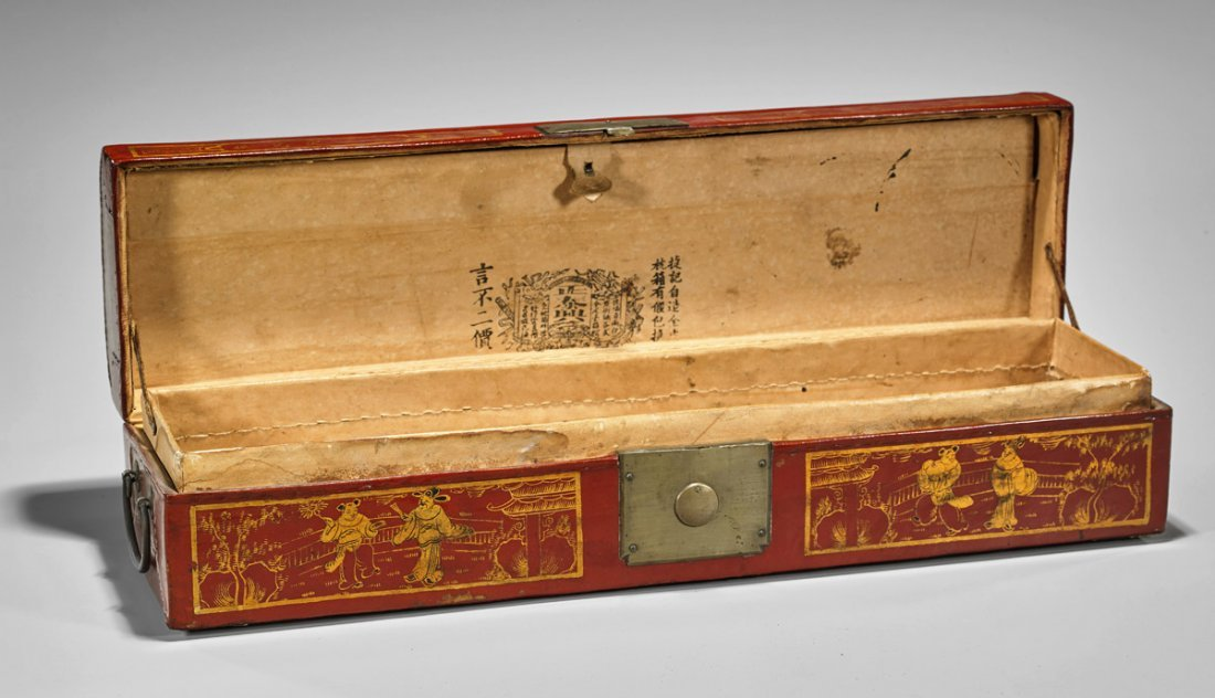 Antique Chinese Lacquered Scroll Box - 2