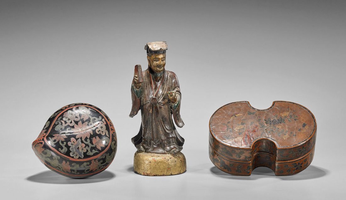 Three Chinese Lacquered Items: Boxes & Figure